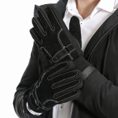 Gloves & Mittens-Yu Zhaolin (YUZHAOLIN) leather gloves men winter warm riding plus velvet ride winter wind touch-screen men's leather stitching thick black and white section on JD
