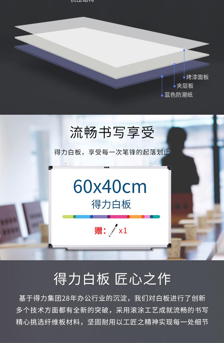 得力(deli) 40*60cm磁性办公教学会议挂式白板 33136