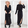 ENKNIGHT FASHION / Buenos Ninos Women Sexy Long Sleeve Casual Chiffon Long Dress Deep V-Neck Solid Dress
