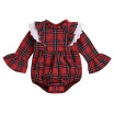 Newborn Infant Baby Girls Sisters Red Plaid Bell Sleeve Bodysuit Jumpsuit Outfits Clothes Long Sleeve Baby Girl Babysuits