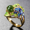 Jade ring national wind s925 silver gilt jewelry baking blue process green leaf opening ring female