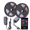 GBTIGER / HML 2pcs 5M waterproof 24W RGB 2835 300 LED Strip Light - RGB with IR 20 Keys Music Remote Control&US Adapter