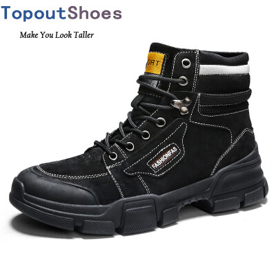 TopoutShoes Men Height Increasing Military Boots Elevator Ankle Boots Work Boot Gain Taller 32inch 8cm