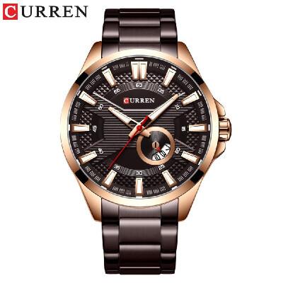 Curren Watch Fashion Men Business Calendar Luminous Hands Quartz Watch Classic Exquisite Alloy Case Stainless Steel Band Waterproo
