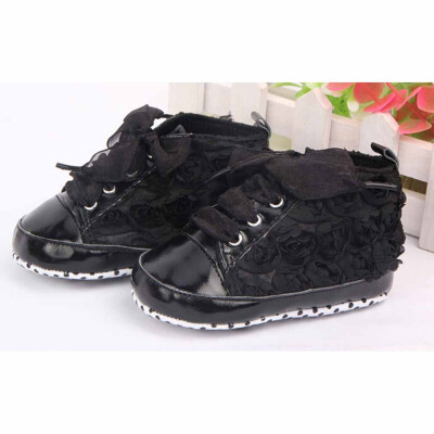 Newborn Infant Baby Girl Soft Lace Flower Shoes Non-slip Leather Sneaker Shoes
