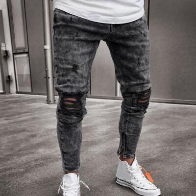 Gobestart Mens Skinny Stretch Denim Pants Distressed Ripped Freyed Slim Fit Jeans Trousers