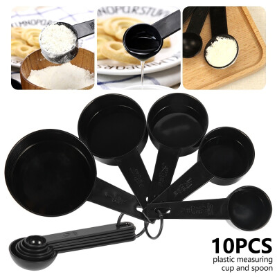 Willstar Practical Measuring Cups Black For Baking Coffee Measuring Spoon 10pcs Kitchen Tools Measuring Set Tools