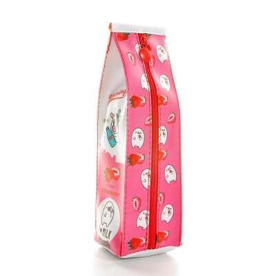 Pencil case simulation milk carton PU leather pencil case kawaii stationery storage organizer pouch pen bag