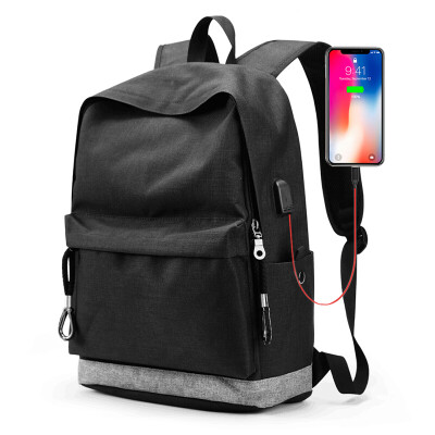 HAUTTON backpack mens bag multi-function charging backpack fashion casual computer trend student bag travel bag bag 918410DB127 black