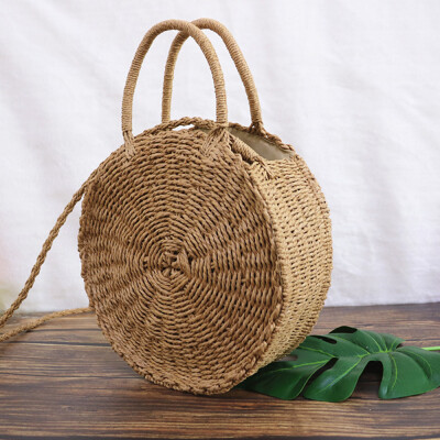 Handmade Round Beach Summer Vintage Crossbody Bags Girls Circle Rattan Small Bohemian Shoulder Weave Bag