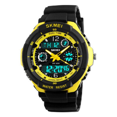 SKMEI 5ATM Water Resistant Dual Time Fashion Men LCD Digital Stopwatch Chronograph Date Alarm Casual Sports Wrist Watch 2 Time Zon