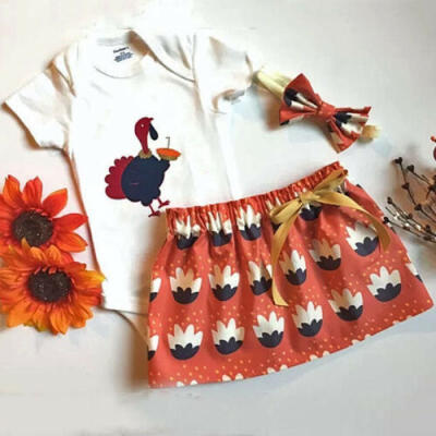 USA Thanksgiving Day Kid Baby Girl Romper Dress Party Skirt Headband Outfit Set