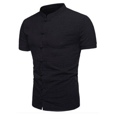SUNSIOM Mens Summer Chinese Style Shirt Short Sleeve Casual Shirt Cotton T-Shirts