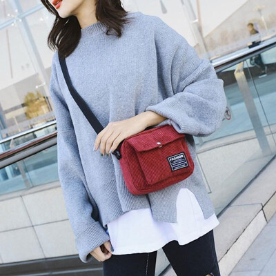 Fashion Women Corduroy Shoulder Bag Square Single Shoulder Messenger Bag Phone Small Crossbody Bags