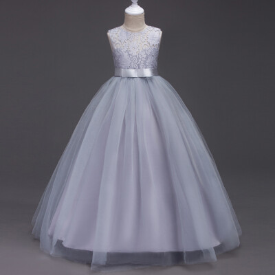Flower Girls Lace Chiffon Wedding Bridesmaid Pageant Party Formal Gown Dress