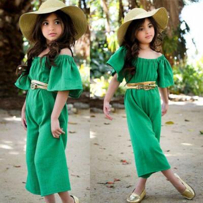 Hot Toddler Kids Baby Girls Off Shoulder Romper Boduysuit Jumpsuit Outfits Set