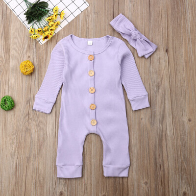 Newborn Baby Boy Girl Long Sleeve Romper Bodysuit Jumpsuit Clothes Outfits 0-18M