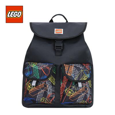 LEGO LEGO bag over 10 years old backpack adult backpack drawstring buckle travel leisure parent-child package large version light black 20132