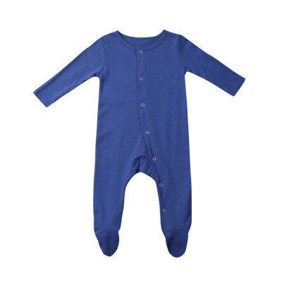 Newborn Baby Girl Boy Long Sleeve Solid Romper Jumpsuit Outfits Clothes 0-24M