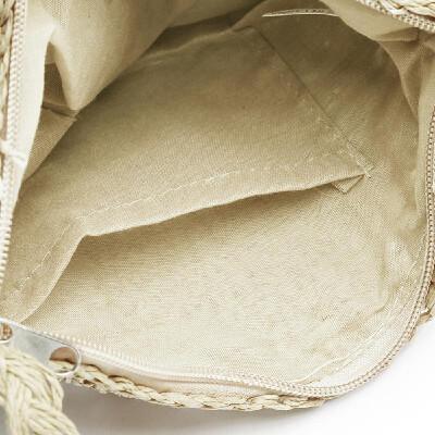 Boho Women Straw Shoulder Bag Solid Crochet Patterns Tassel Half Round Beach Holiday Crossbody Bag