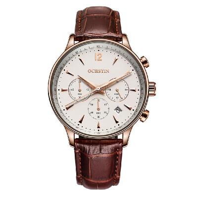 OCHSTIN New Luxury Brand Genuine Leather Men Business Watch Quartz Analog Water-Proof Mans Wristwatch Chronograph Calendar Box