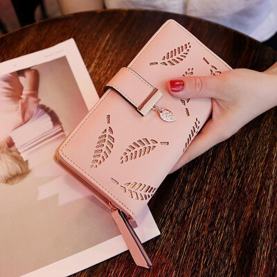 LKX Women Wallet Pu Leather Purse Female Long Wallet Gold Hollow Leaves Pouch Handbag For Women Coin Purse Card Holders Clutch