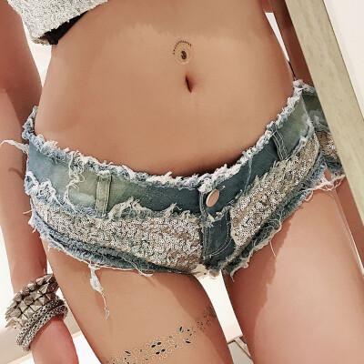 Tailored Sexy Women Denim Jeans Low Waist Super Mini Shorts Pants