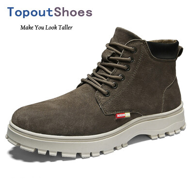 TopoutShoes Elevator Men Martin Boots Lace Up Height Increasing Ankle Boot Add Taller 28inch 7cm