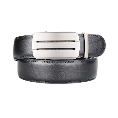 BPSTAR Mens Automatic Buckle Genuine Leather Mens Ratchet Holeless Belt Business High Quality Mens Real Belt for Pants