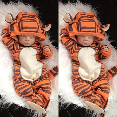 Cute Kid Newborn Baby Boy Girl Hooded Romper 3D Tiger Outfits Bodysuit Jumpsuit 0-18M