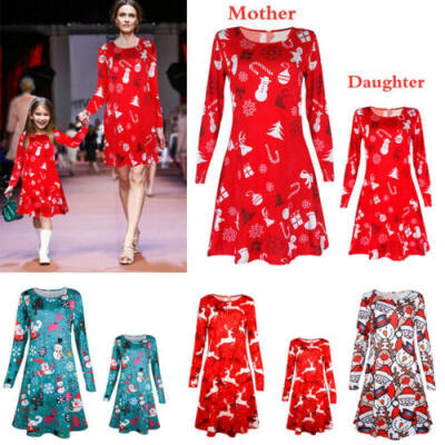 UK Mother&Daughter Christmas Dress Family Matching Women Girl Casual Clothes