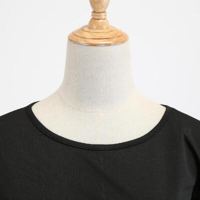 W2186 cross-border Christmas retro large size womens autumn&winter round neck long-sleeved black spell print large swing dres