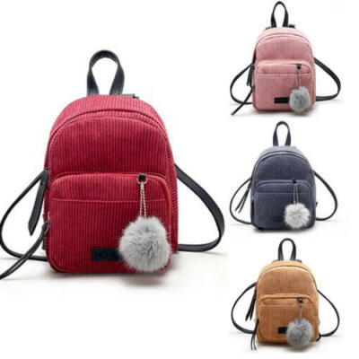Women Corduroy Satchel Travel School Backpack Girl Rucksack Handbag Shoulder Bag
