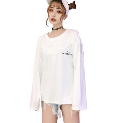 Autumn Korean O-Neck T shirt women Solid Letter printing long-sleeved T-shirt Polyester Tshirt plus size Harajuku