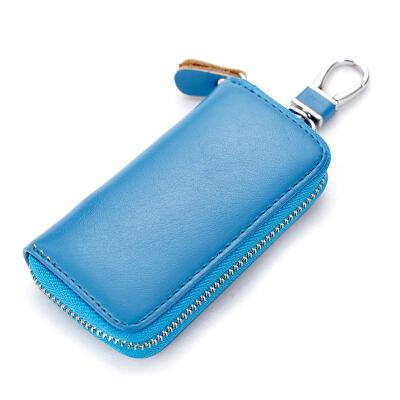 Mens Car Keys Wallets Genuine Leather Zipper Multi-function Key Organizer Housekeeper Key Bag Female Business Key Case