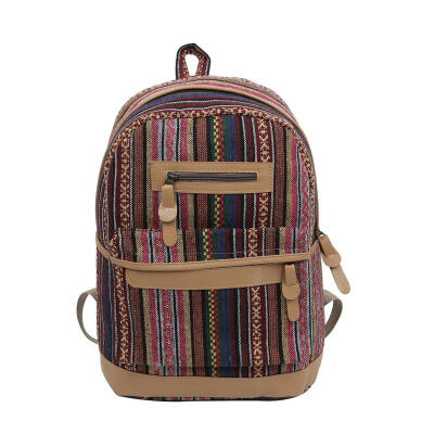 Women Canvas Backpacks Ethnic Style Beach Holiday Backpack Casual Rucksack