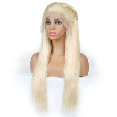 Peruvian Blonde Wig Straight 44 Lace Closure Human Hair Wigs Blonde Color 613 Human Hair 44 Lace Front Wigs Blonde Hair