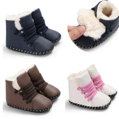 USA Cute Boy Girls PU Leather Soft Sole Snow Boots Soft Crib Shoes Toddler Boots