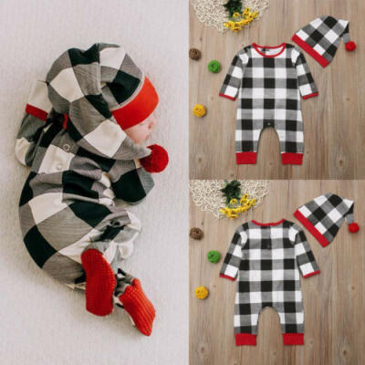 UKStock Newborn Baby Girls Boy Xmas Clothes Romper Jumpsuit Outfits Bodysuit Hat