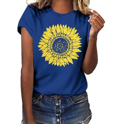 Starmoon Women Summer Sunflower Printing Pockets Short Sleeve Shirt Casual Tunic Tops Blo