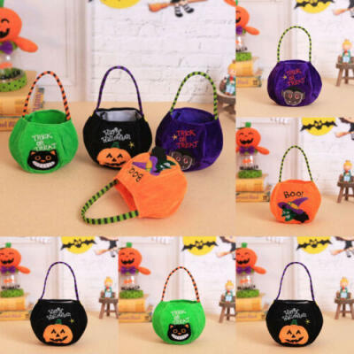 Halloween Cartoon Pumpkin Tote Bag Fun Party Trick Treat Bags For Sweets & Candy