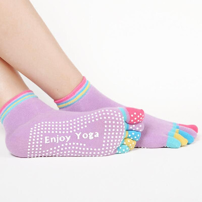 Women Five Fingers Apart Cotton Yoga Non-slip Socks Silicone Massage Fitness Socks