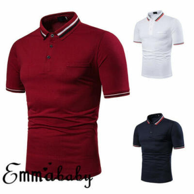 Mens Slim Fit Lapel Shirts Solid Short Sleeve Casual Golf T-shirt Tee Tops