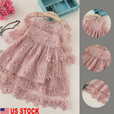 US Toddler Kids Baby Girls Cute Long Sleeve Dress Princess Party Lace Tutu Dress