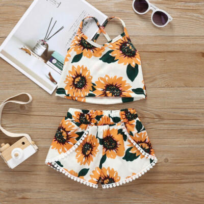 UK Infant Baby Girl Clothes Sunflower Sleeveless Vest Tops Shorts Outfit Sunsuit
