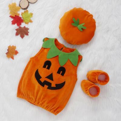 US 3PCS Halloween Toddler Baby Boys Girls Romper Jumpsuit Hat Pumpkin Outfits