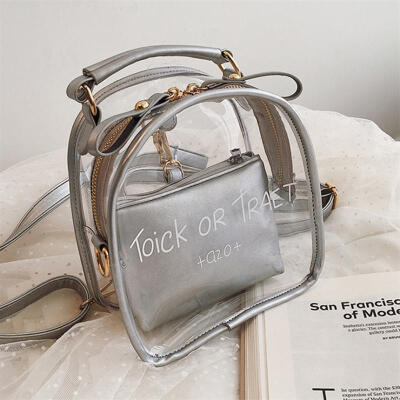 2019 Summer New Fashion Transparent Printed Letter Backpack Student Multi-function Jelly Bag