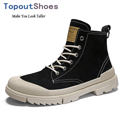 TopoutShoes Men Elevator Desert Boots Hidden Lift Ankle Boots Steel Toe Working Shoes Taller 28inch 7cm