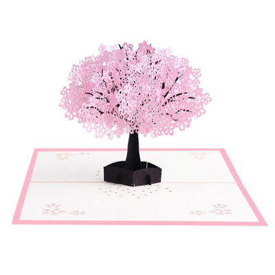 3D Pop Up Cards Romantic Cherry Blossoms Greeting Card Valentine Gifts