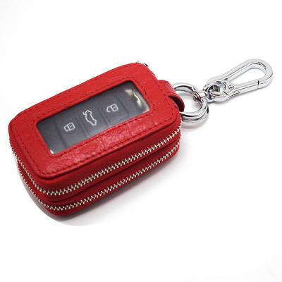 Casual Cowhide Car Key Wallet Mini Solid Color Keychain Cover With Crocodile Texture For Men And Women